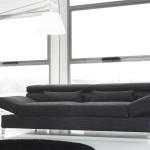 Divano moderno biba salotti, nero su sfondo bianco