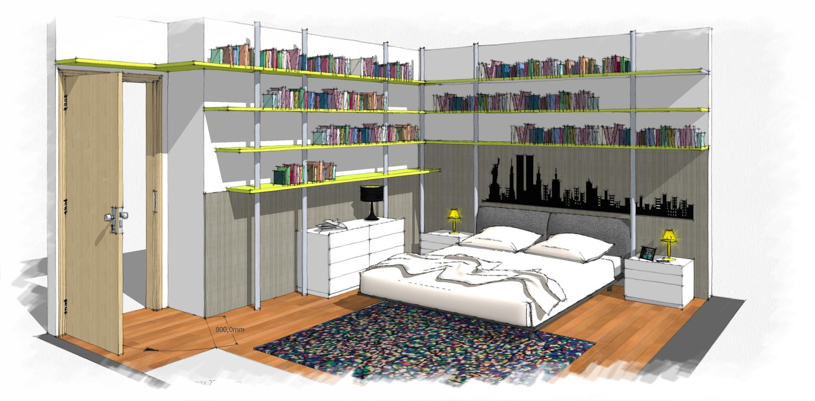 Progetto di camera da letto, disegno, colore