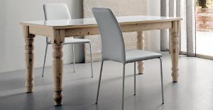 Tavoli in legno stile classico bianco e legno massiccio