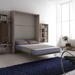 Soggiorni moderni Letto a muro convertibile in libreria, aperto