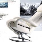 Poltrona relax statica reclinabile di colore bianco con poggia gambe estendibile, nome poltrona Cortina