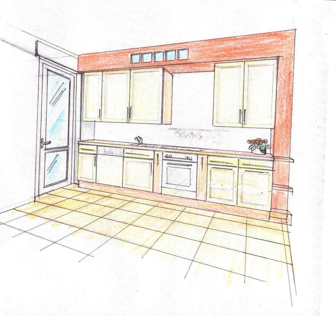 Disegno progetto cucina classica colorata rosso - Progetti cucina in muratura ...