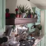 Cucina tempora verde, credenza