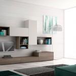 Composizione soggiorno Day, legno marrone e bianco, moderno