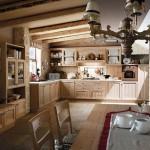 Cucine country Fieno in legno massiccio, colore legno, con caminetto