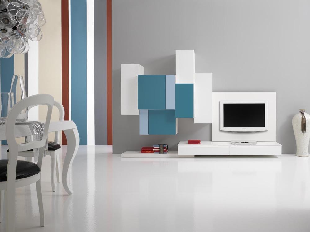 Soggiorni moderni Composizione pixel blu con tv
