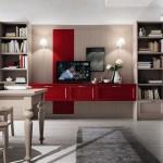 Soggiorni callesella, stile classico in legno, con una composizione porta tv e cassetti rossa