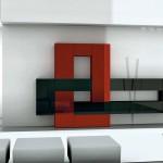 soggiorni moderni pescarollo, composizione a muro fantasiosa geometrica bianca, rossa e nera, porte in pietra