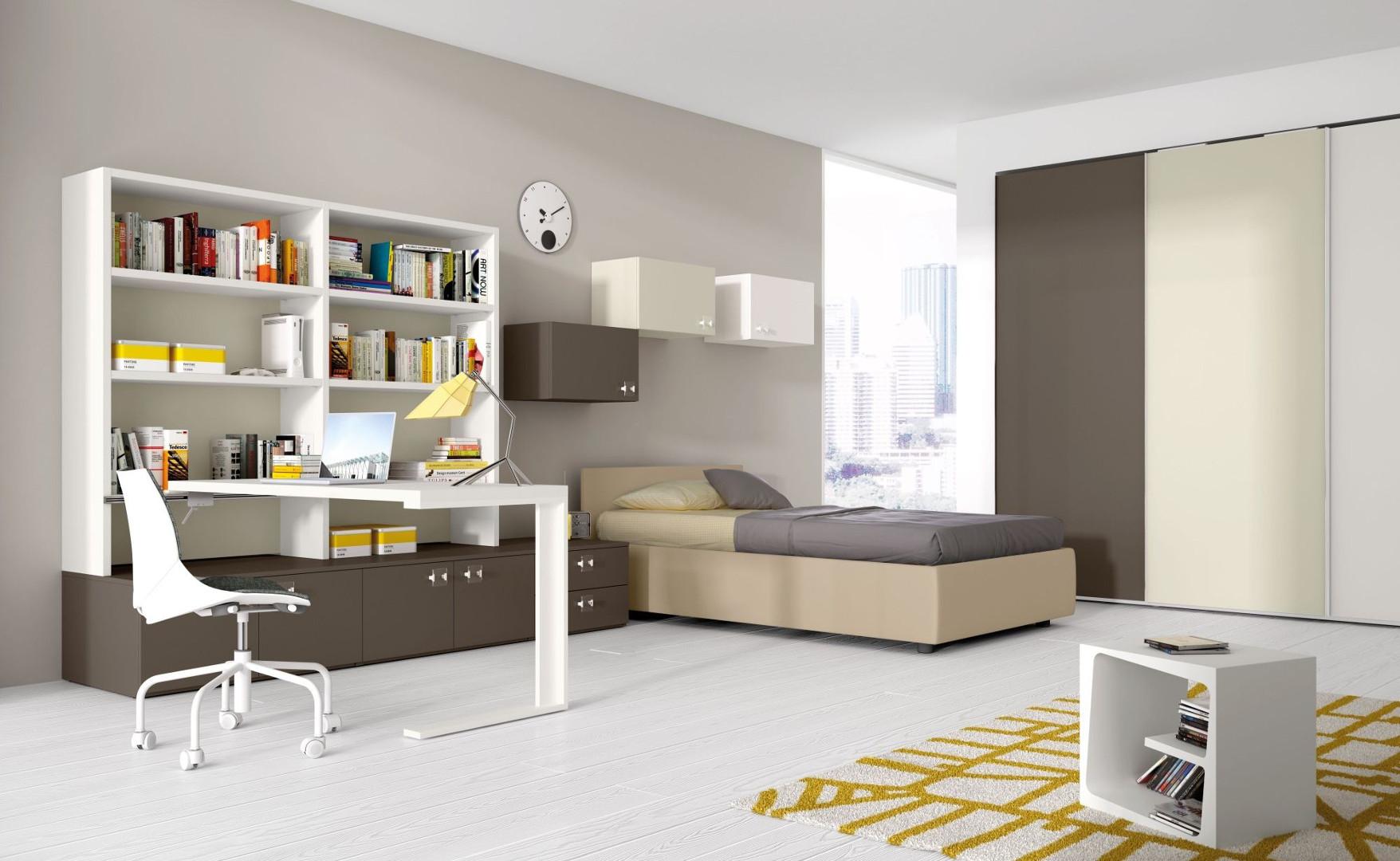 Cameretta spaziosa grigia per un ragazzo - Camera da letto singola moderna ...