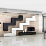soggiorni moderni pescarollo, composizione a muro fantasiosa geometrica bianca e nera, porte in pietra