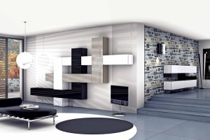 arredamenti soggiorno geometrie variabili nere e bianche