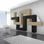 soggiorni moderni pescarollo, composizione a muro fantasiosa geometrica marrone e nera, porte in pietra