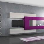 soggiorni moderni pescarollo, composizione a muro fantasiosa geometrica bianca, viola e nera, porte in pietra