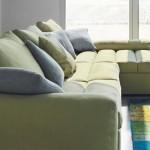 Divano componibile biba salotti, colore verde con cuscini