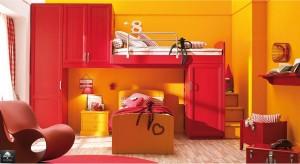 Cameretta stile tradizionale legno color rosso e arancio