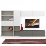 Composizione moderna soggiorno, Day, bianca e grigia con tappeto rosso