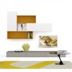 Composizione moderna soggiorno Day, bianca e gialla