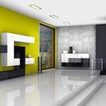 soggiorni moderni pescarollo, composizione a muro fantasiosa geometrica bianca e nera con parete gialla, porte in pietra